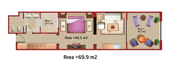 The Makadi Spa Hotel - Junior Suite room plan